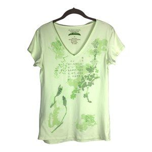 Earth Yoga Green Floral Print Pullover Short Sleeves V Neck Top Size Large